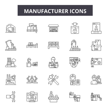 Manufacturer line icons, signs, vector set, outline concept, linear illustration Çizim