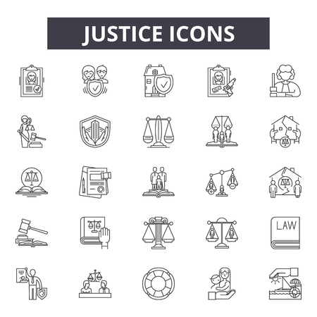 Justice line icons, signs, vector set, outline concept, linear illustration