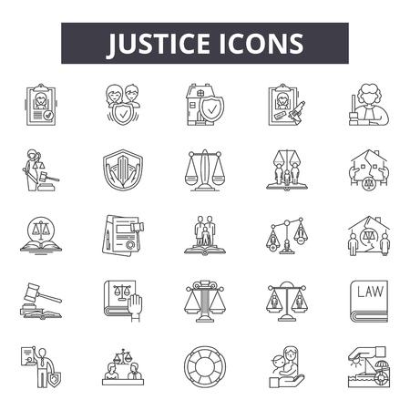 Symbole der Gerechtigkeitslinie, Zeichen, Vektorsatz, Umrisskonzept, lineare Illustration