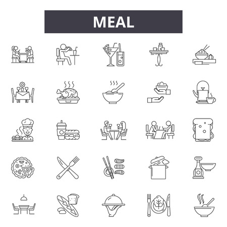 Meal line icons, signs, vector set, outline concept, linear illustration