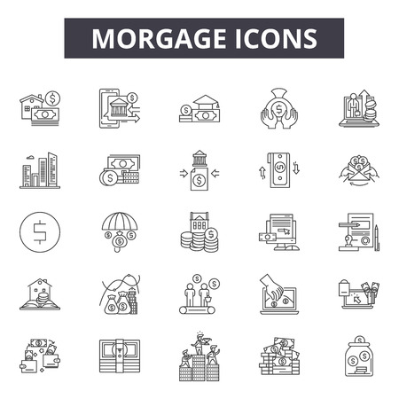 Mortgage line icons, signs, vector set, outline concept, linear illustration