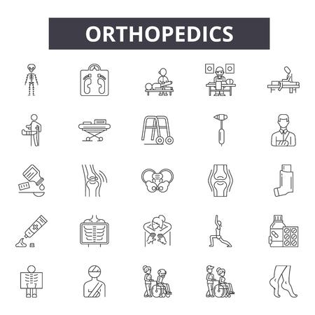 Ikony linii ortopedii, znaki, wektor zestaw, koncepcja konspektu, ilustracja liniowa
