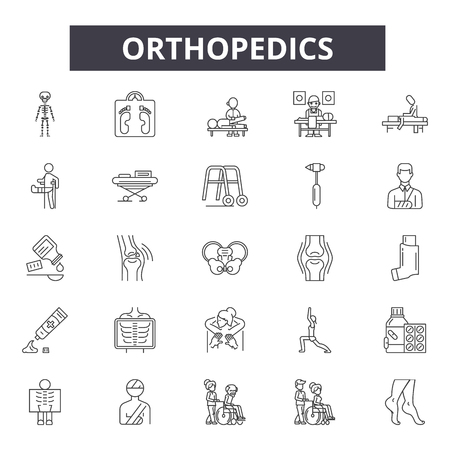 Orthopedics line icons, signs, vector set, outline concept, linear illustration Illustration