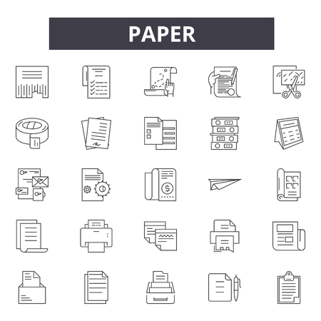 Paper line icons, signs, vector set, outline concept, linear illustration