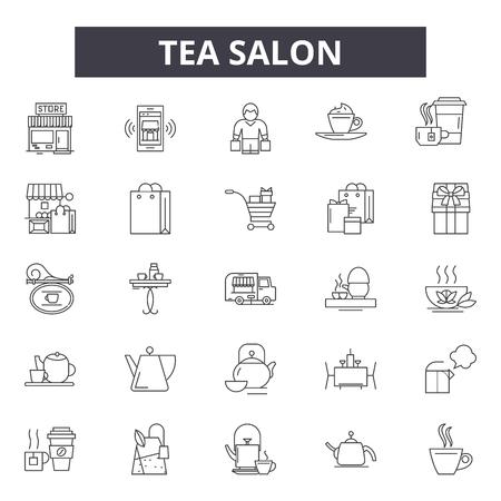 Tea salon line icons, signs, vector set, outline concept, linear illustration
