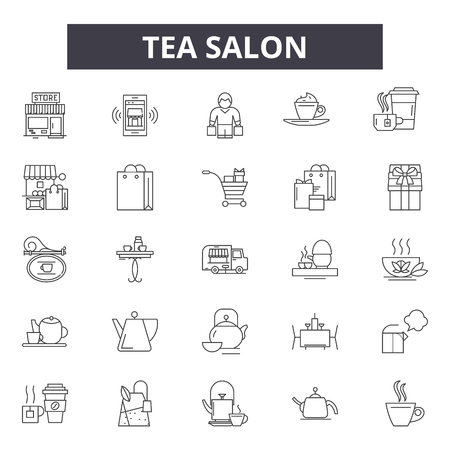 Tea salon line icons, signs, vector set, outline concept, linear illustration