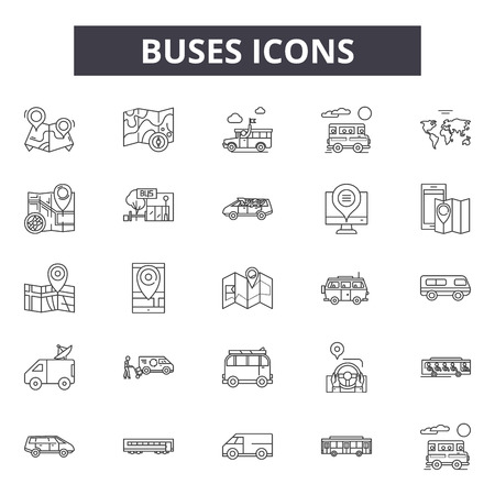 Buses line icons, signs, vector set, outline concept, linear illustration