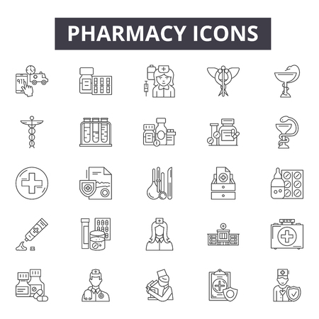 Pharmacy line icons, signs, vector set, outline concept, linear illustration Illustration
