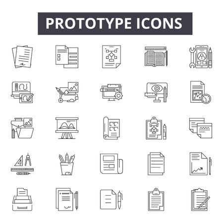 Prototype line icons, signs, vector set, outline concept, linear illustration