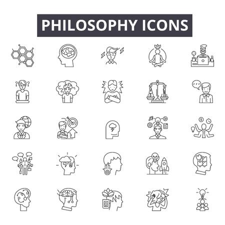 Icônes de ligne de philosophie, signes, ensemble de vecteurs, concept de contour, illustration linéaire