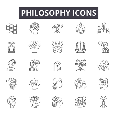 Philosophy line icons, signs, vector set, outline concept, linear illustration Illustration
