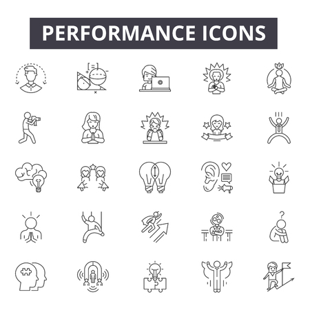 Performance line icons, signs, vector set, outline concept, linear illustration Illustration