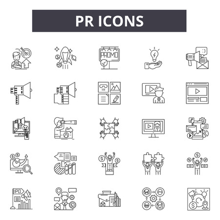 Icônes de ligne Pr, signes, ensemble de vecteurs, concept de contour, illustration linéaire Vecteurs
