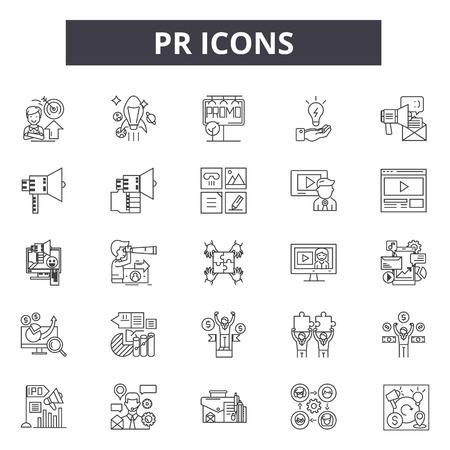 Linea Pr icone, segni, set di vettore, concetto di contorno, illustrazione lineare Vettoriali