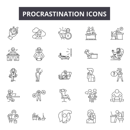 Procrastination line icons, signs, vector set, outline concept, linear illustration Illustration