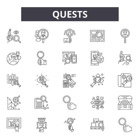 Icônes de ligne de quêtes, signes, ensemble de vecteurs, concept de contour, illustration linéaire Vecteurs