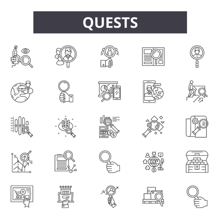 Quests line icons, signs, vector set, outline concept, linear illustration