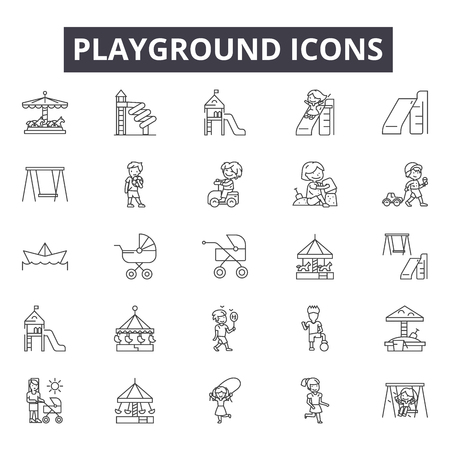 Playground line icons, signs, vector set, outline concept, linear illustration