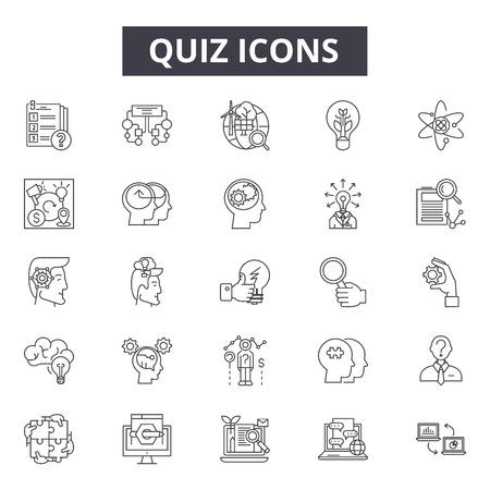 Ikony linii quizu, znaki, wektor zestaw, koncepcja konspektu, ilustracja liniowa