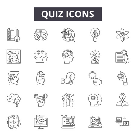 Quiz line icons, signs, vector set, outline concept, linear illustration