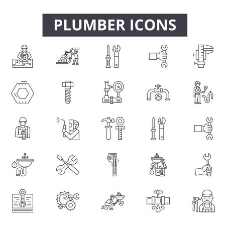 Plumber line icons, signs, vector set, outline concept, linear illustration