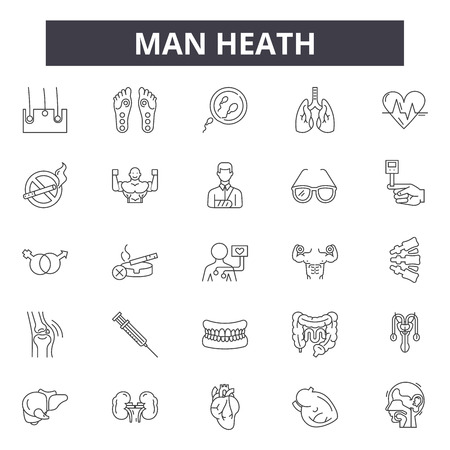 Man heath line icons, signs, vector set, outline concept, linear illustration Ilustrace