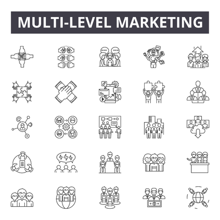 Multi-level marketing line icons, signs, vector set, linear concept, outline illustration