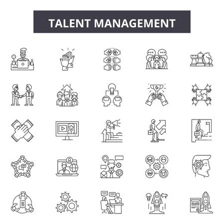 Talent management line icons, signs, vector set, outline concept, linear illustration Illustration