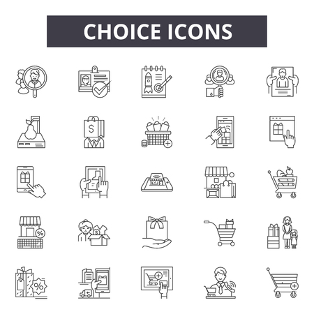 Choice line icons, signs, vector set, outline concept, linear illustration