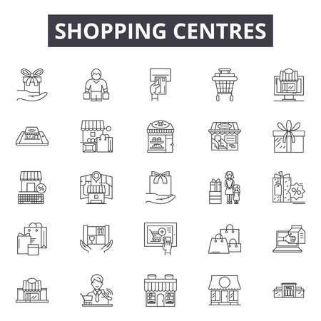 Shopping centres line icons, signs, vector set, outline concept, linear illustration  イラスト・ベクター素材