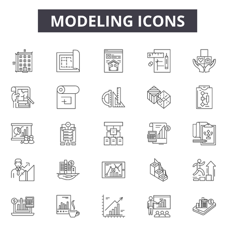 Modeling line icons, signs, vector set, outline concept, linear illustration Иллюстрация