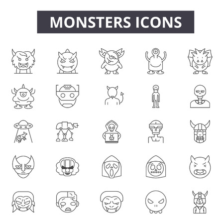 Monsters line icons, signs, vector set, outline concept, linear illustration