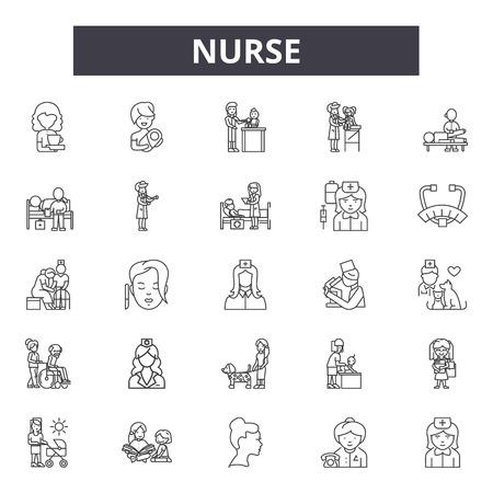 Krankenschwester-Liniensymbole, Zeichen, Vektorsatz, Umrisskonzept, lineare Illustration