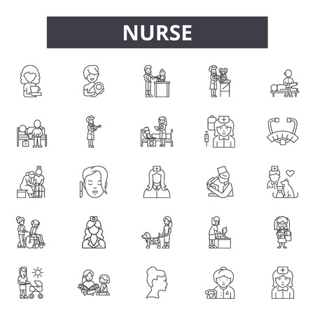 Nurse line icons, signs, vector set, outline concept, linear illustration