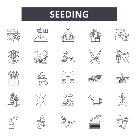 Seeding line icons, signs, vector set, outline concept, linear illustration