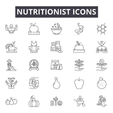 Icônes de ligne de nutritionniste, signes, ensemble de vecteurs, concept de contour, illustration linéaire Vecteurs