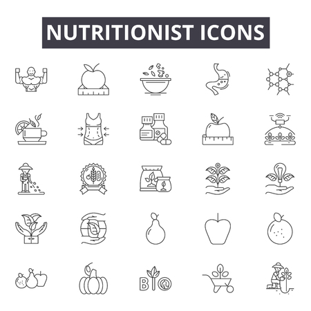 Nutritionist line icons, signs, vector set, outline concept, linear illustration