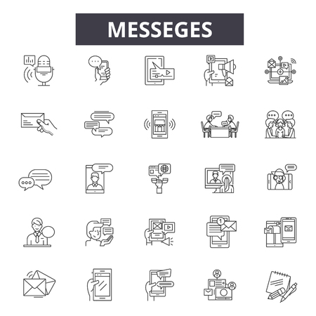 Messedges line icons, signs, vector set, outline concept, linear illustration Stock Vector - 122419680