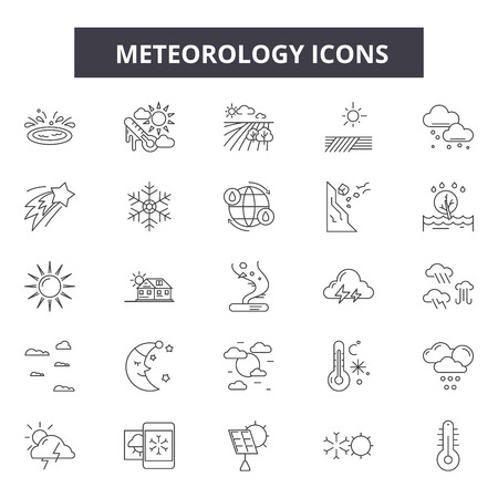 Meteorology line icons, signs, vector set, outline concept, linear illustration