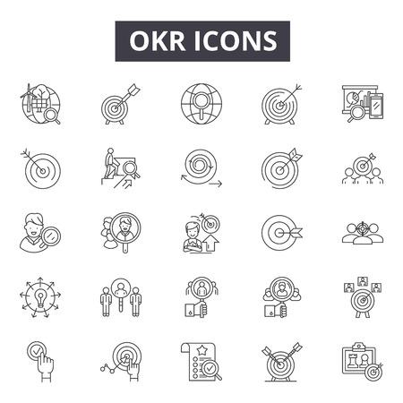 Icônes de ligne Okr, signes, ensemble de vecteurs, concept de contour, illustration linéaire