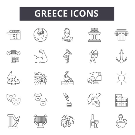Greece line icons, signs, vector set, outline concept, linear illustration