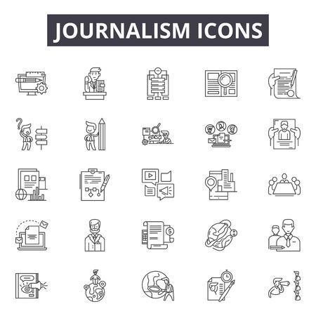 Icônes de ligne de journalisme, signes, ensemble de vecteurs, concept de contour, illustration linéaire