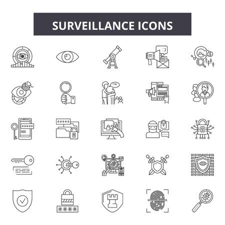 Surveillance line icons, signs, vector set, outline concept, linear illustration Vector Illustration
