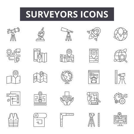 Surveyors line icons, signs, vector set, outline concept, linear illustration