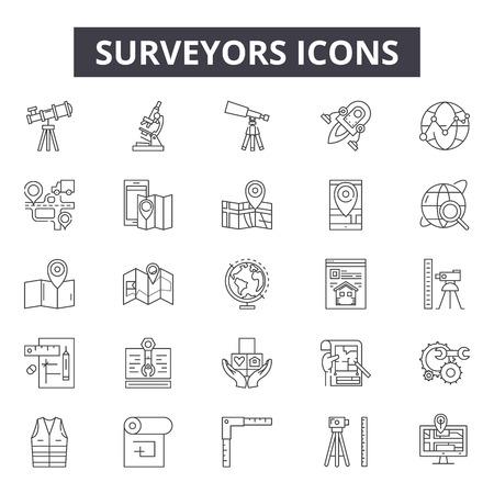 Vermessungsingenieure Liniensymbole, Zeichen, Vektorsatz, Umrisskonzept, lineare Illustration Vektorgrafik