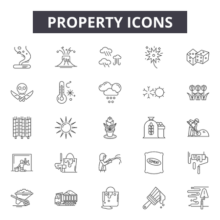 Property line icons, signs, vector set, outline concept, linear illustration