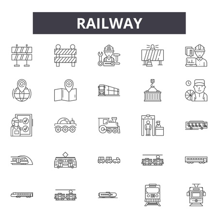Railway line icons, signs, vector set, outline concept, linear illustration