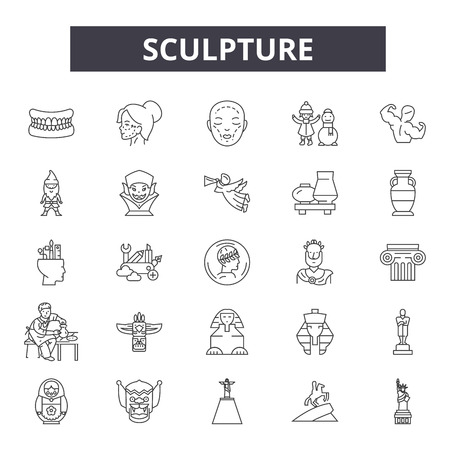Sculpture line icons, signs, vector set, outline concept, linear illustration Archivio Fotografico - 122419705