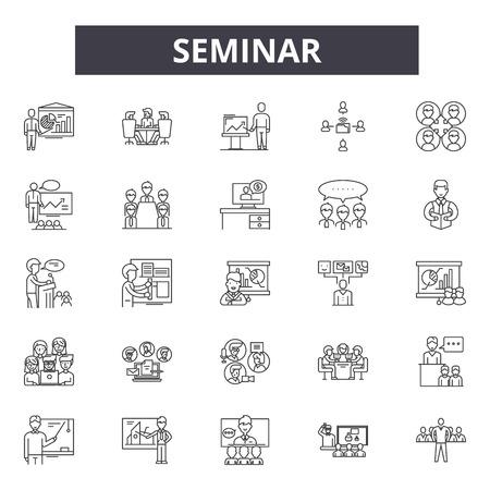 Seminar line icons, signs, vector set, outline concept, linear illustration Stock Illustratie