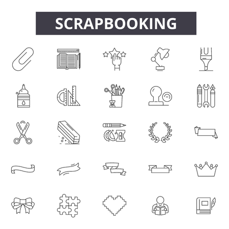 Scrapbooking line icons, signs, vector set, outline concept, linear illustration